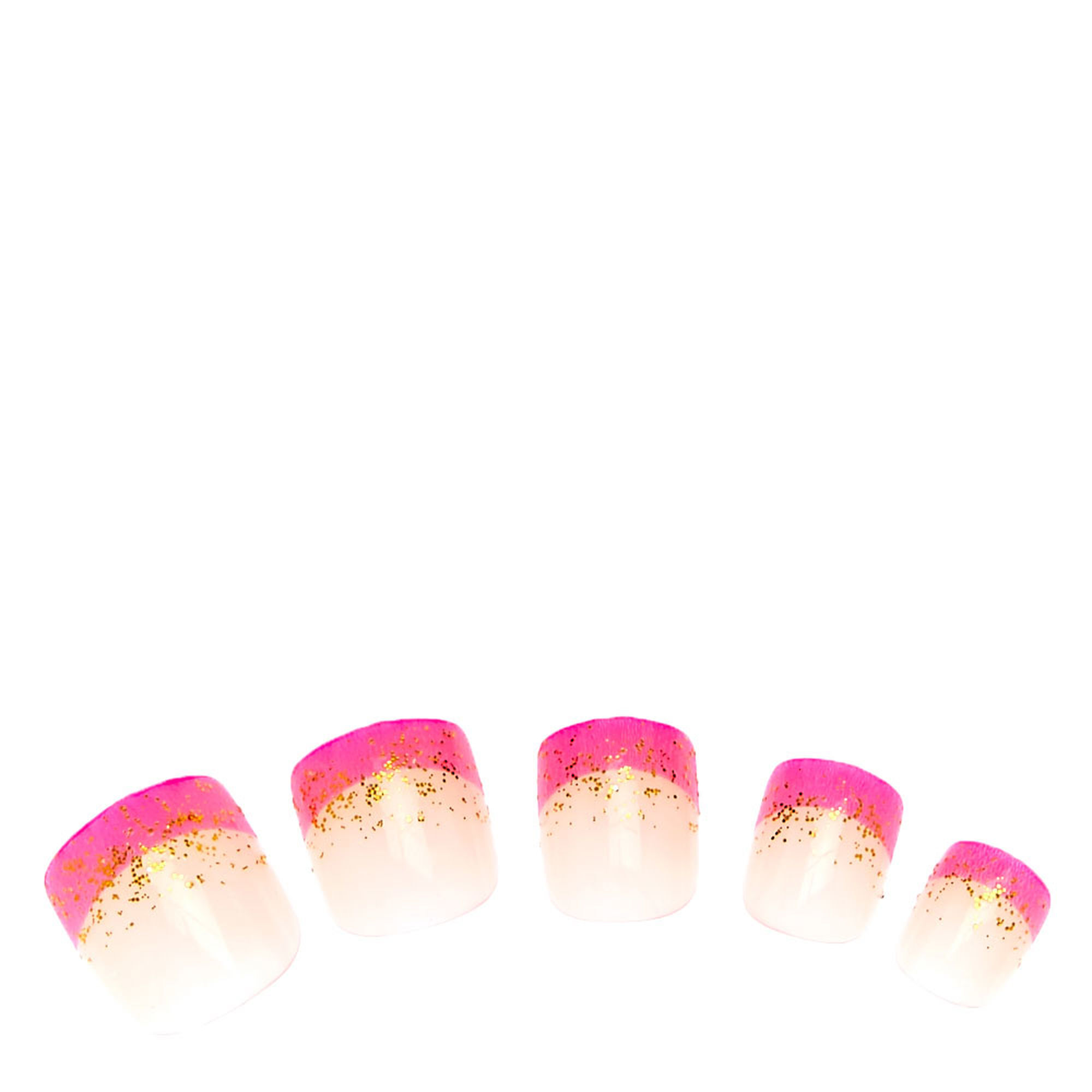 Gold Glitter Pink French Tip Press On Faux Nails