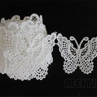 3 M mariposa decorativos de borde de encaje. Lazo Blanco 4,5 cm de ancho Vintage estilo Off Tela bordado Applique costura Craft vestido de boda adornos DIY Decoración Ropa Bordado