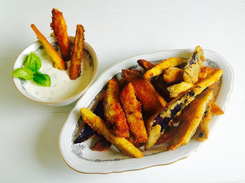 aubergine frietjes met yoghurt-basilicimmayonaise
