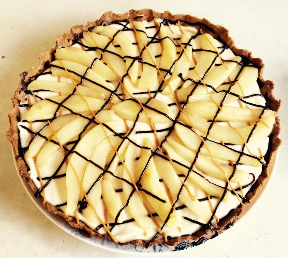 taart met mascarpone, peren en chocolade