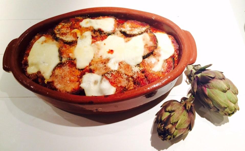 vegetarische ovenschotel met aubergine