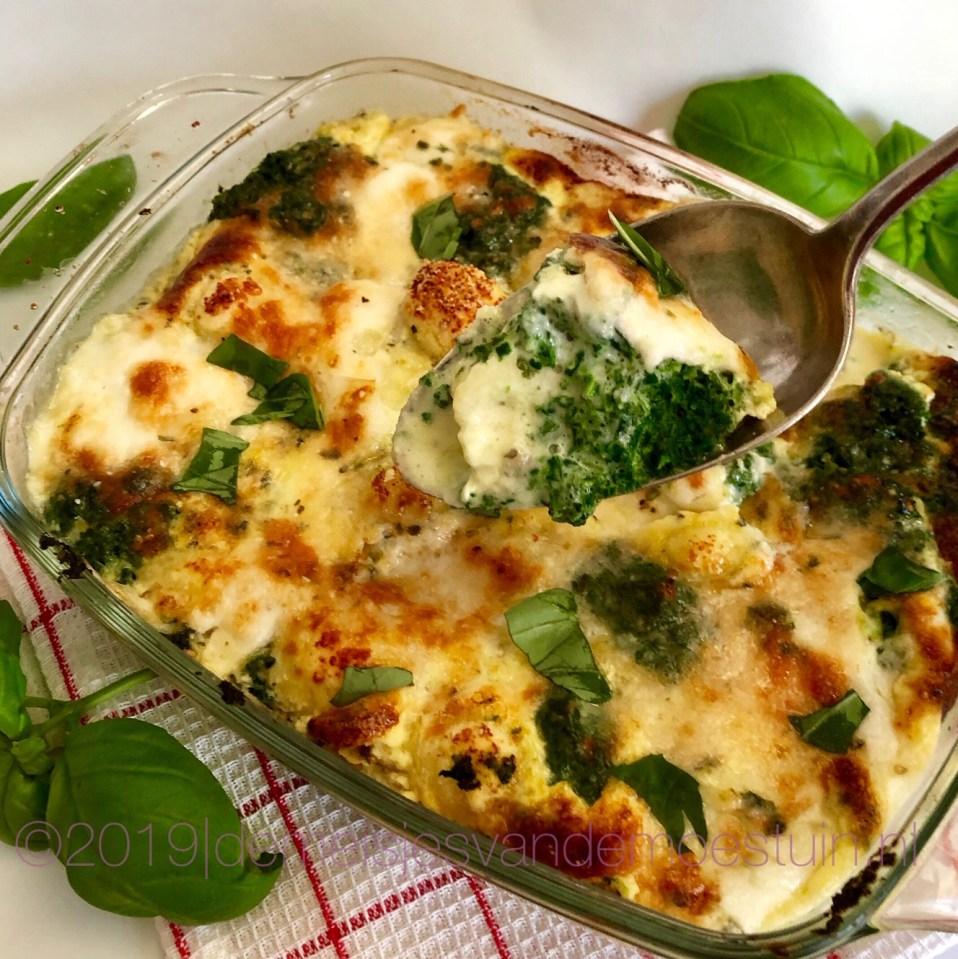 gnocchi met spinazie en basiclicum uit de oven