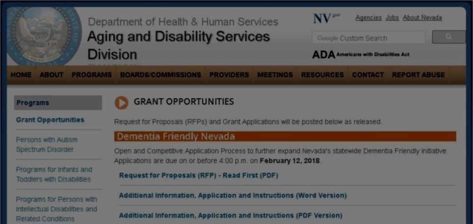 Nevada ADSD Request for Proposal (RFP): Dementia Friendly Initiative