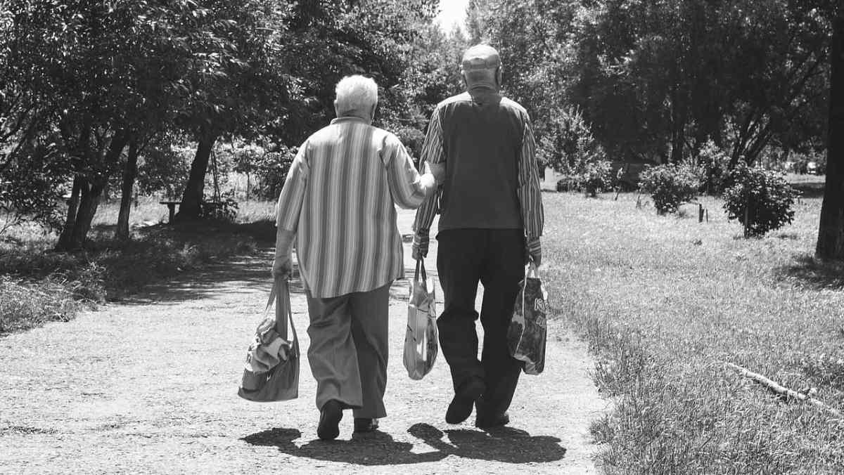 Two Elderly men walking