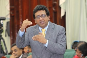 The PPPC's Shadow Attorney General and Minister of Legal Affairs makes a point in the National Assembly during the debate on the anti-terrorism law.