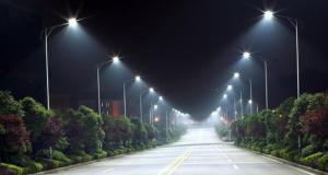 Recently installed street lights in Linden.
