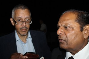 Minister of Business, Dominic Gaskin and Prime Minister Moses Nagamootoo.