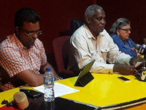 PPPC-nominated members of the Guyana Elections Commission (left to right) Sase Gunraj, Robeson Benn and Bibi Shadick.