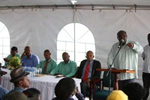 Town Clerk Royston King addressing vendors