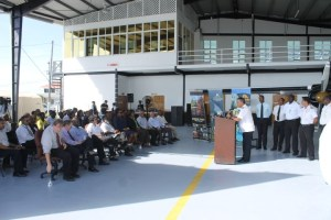 Chief Executive Officer of Roraima Airways, Capt. Gerry Gouveia addressing the gathering at the commissioning of the Britten-NormanTrislander and plane and the company's Approved Maintenance Organisation.