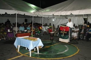 President David Granger addressing the Guyana Reparations Committee's leg of the International Youth Reparations Relay and Rally at Parade Ground.