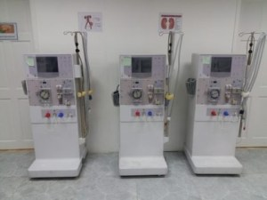 Three of the eight dialysis machines donated to the Georgetown Public Hospital Corporation