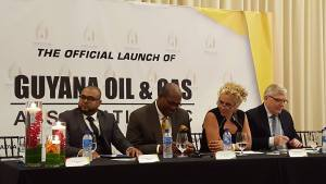 Left to Right: President of the Guyana Oil and Gas Association (GOGA), Bobby Gossai Jr; GOGA Director, Nigel Hughes; Resident Representative of the Inter-American Development Bank, Sophie Makonnen and Canada's Ambassador to Guyana, Pierre Giroux at the launching of GOGA.