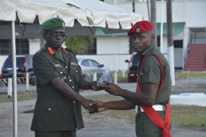COS Brig George Lewis presents the Be ... t award to Sergeant Lester Lewis