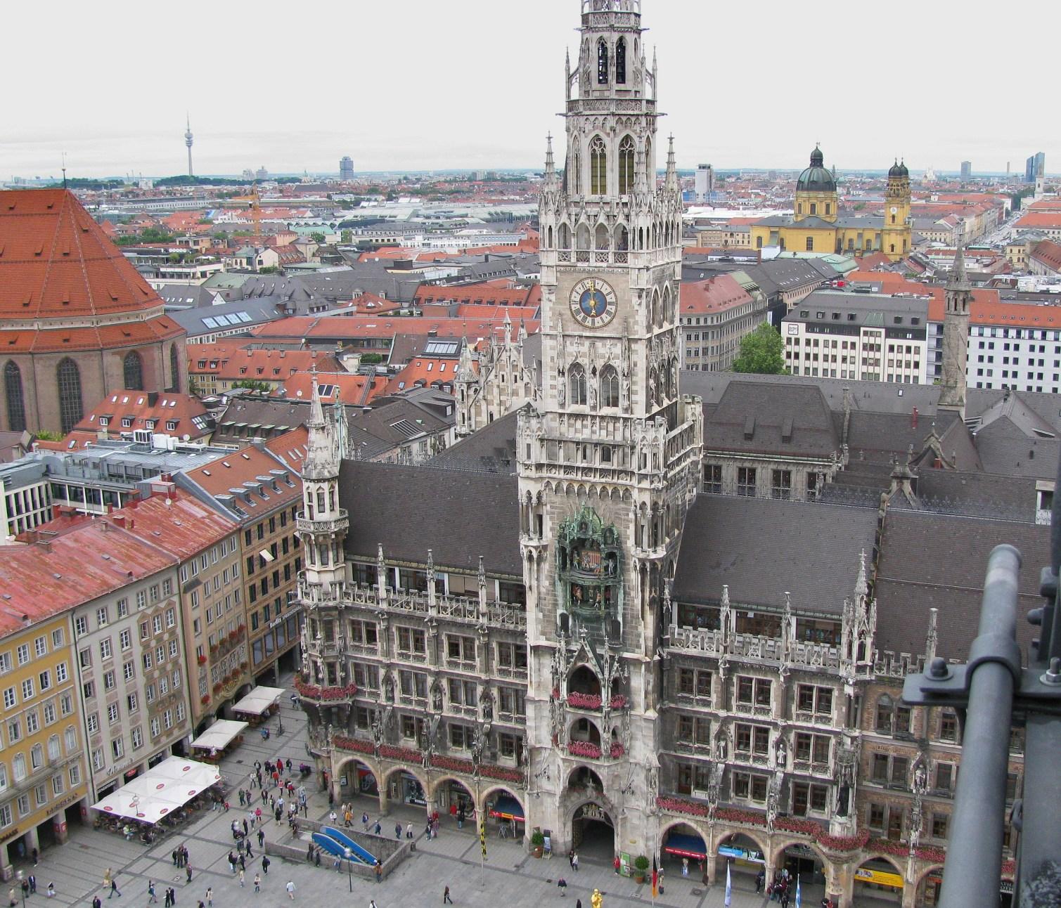 Marienplatz. The New Town Hall as seen from Peterskirche belltower.