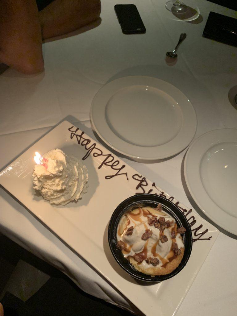 Birthday dessert at Steak44 in Phoenix, Arizona for Demi Bang's birthday.