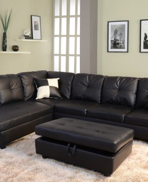 Raphael Faux Leather Left Facing Sectional Sofa With Ottoman, Multiple Colors2