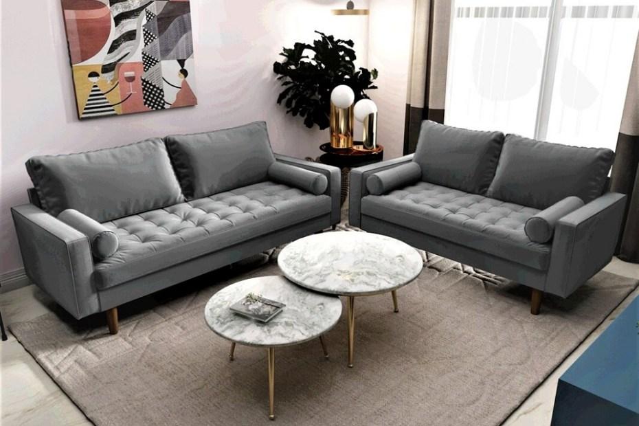Mac Velvet Removable Cushions Living Room Set
