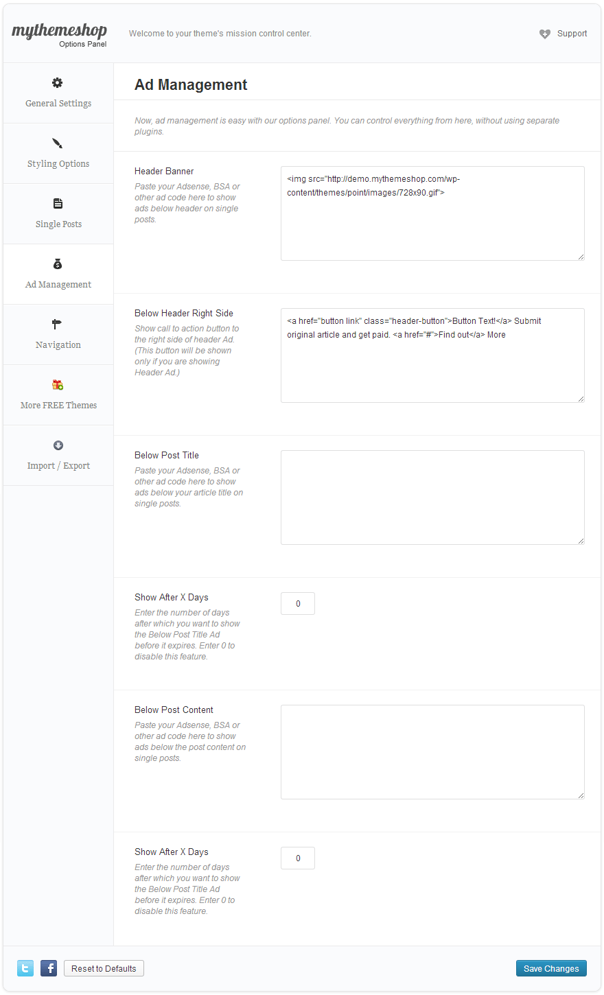 Point Ad Options