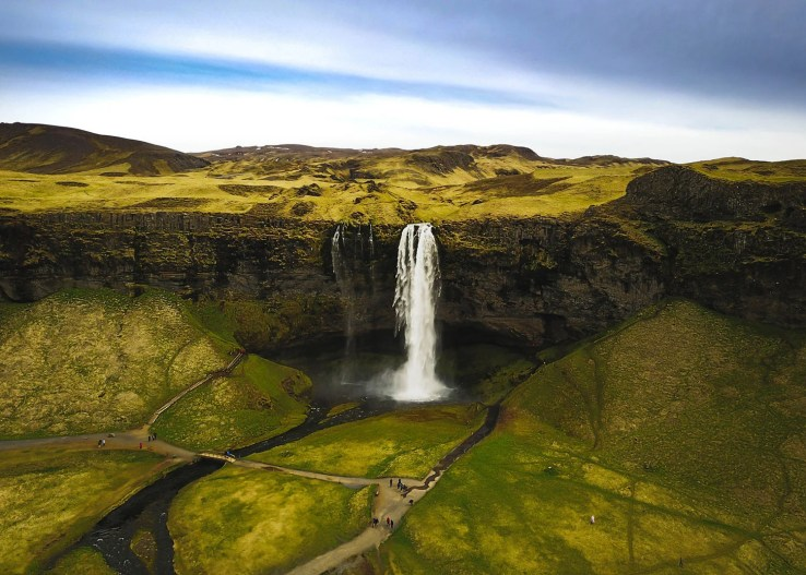 Seljalandsfoss, Iceland. DJI Mavic photo of beautiful waterfall in Iceland, Seljalandsfoss. Iceland trip May 2017.
