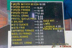 Tabela de preços da Lanchonete.