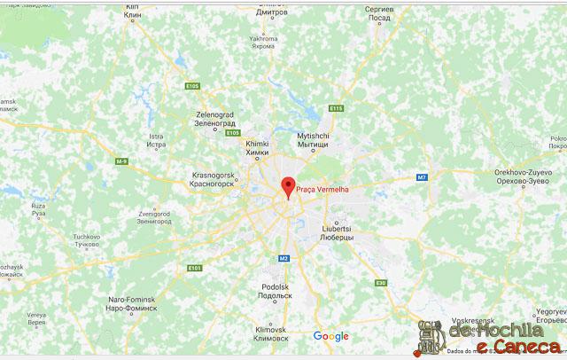 Praça Vermelh de Moscou - mapa