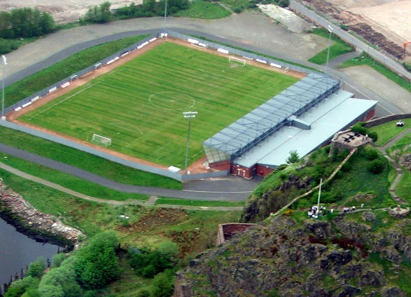 Dumbarton FC stadium from the air 1