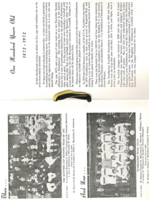Dumbarton FC Centenary Dinner Menu (centre spread)