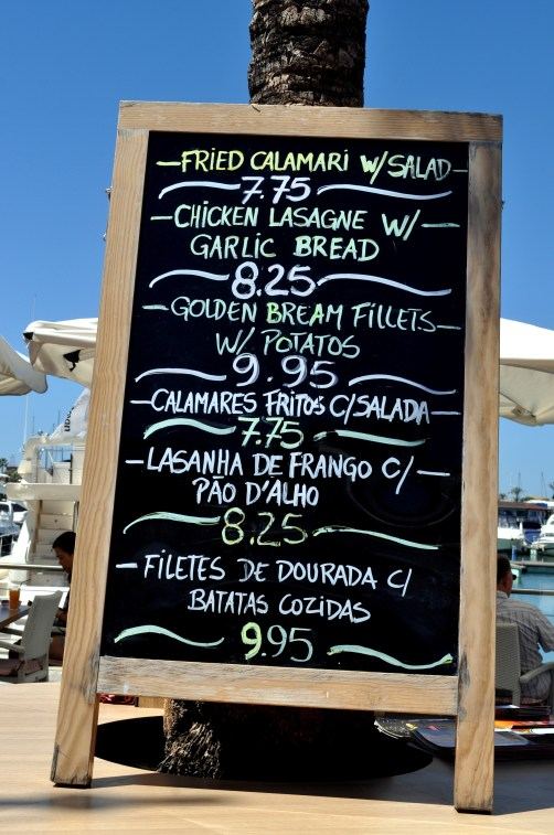 Algarve - menu for one of the many restaurant bars in Vilamoura