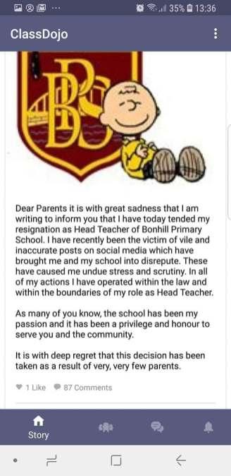 Bonhill PS statement