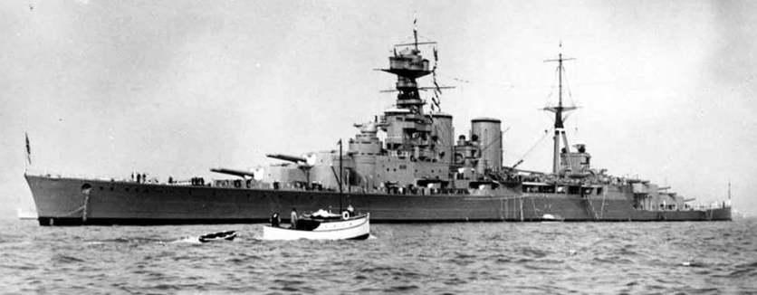 HMS HOOD seen from HMS REPULSE.