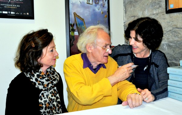Durcan with Nicole Shanahan and Maire O'Halloran of Clifden Bookshop
