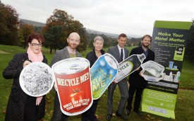 Metal Matters get recycling your old tins PIC SHOWS L-R Clr Diane Docherty, Clr Iain Mclaren, MP Martin Docherty-Hughes, Susan Shannon WDC and Chris Lathem-Warde Alupro