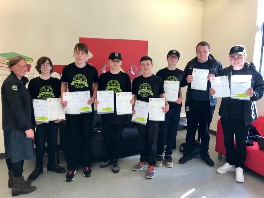 Pupils receive their John Muir Award certificates and Junior Ranger certificates