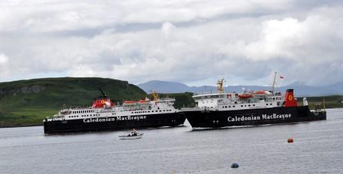 Oban 2 Calmac ferries pass close together in Oban Bay.
