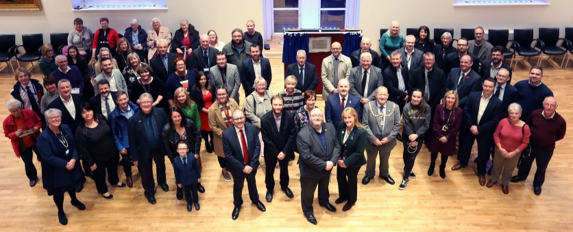 Church Street council HQ Official OpeningPIC SHOWS coucil leader Jonathan McColl with Caroline Mcallister provost Hendrie and all the guests at the opening