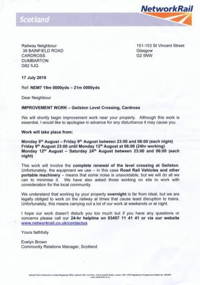 Network rail letter