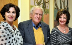 Durcan with Clifden Bookshop owners Maire O'Halloran and Nicole Shanahan at Clifden Arts Festival