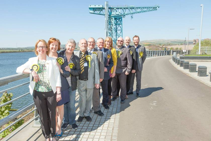 SNP councillors at the Titan Crane