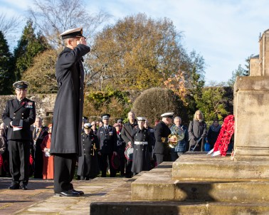 Pictured: Naval Base Commander Clyde, Commodore Donald Doull lays a wreath during the ceremony. Today 10 November 2019, in Helensburgh, Royal Navy Sailors and Submariners from nearby HM Naval Base Clyde joined local residents and dignitaries at Hermitage Park for this year's Remembrance ceremony. Events began and Hermitage Primary School, led by the Royal Navy guard and HMS Neptune Volunteer Band. The participants marched to the park's Garden of Remembrance. Taking the salute outside Victoria Halls was Naval Base Commander Clyde, Commodore Donald Doull, who also laid a wreath outside the town's cenotaph. MEMBERS of the Royal Navy attended Remembrance Services around Scotland today to honour those who made the ultimate sacrifice in defence of their country.