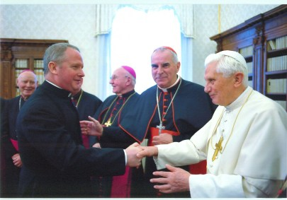 Monsignor Paul Conroy is introduced to Pope Benedict by Cardinal Keith O'Brien (centre).
