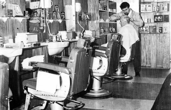 Helensburgh 16 Billy Rennie in his barber shop