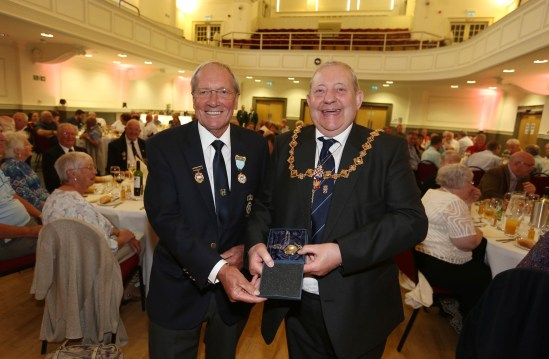 Civic Reception Civil Service Bowlers PIC SHOWS provost William Hendrie with gift
