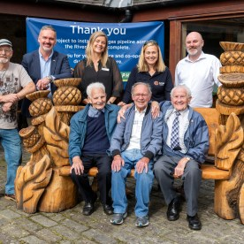 As part of SGN Erskine Bridge pipeline replacement project trees had to be felled in the Boden Boo Community woodland. One of these we have commissioned Johnny Chainsaw to carve a bench for us and we are presenting this to Erskine Reid Activity Centre ar Erskine Hospital for veterans