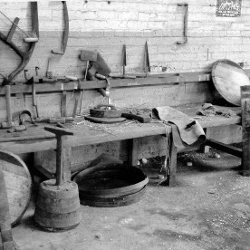 Goose - a cooper's work bench at the Dumbuck whisky warehouses