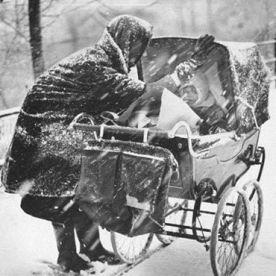 Snow woman and pram
