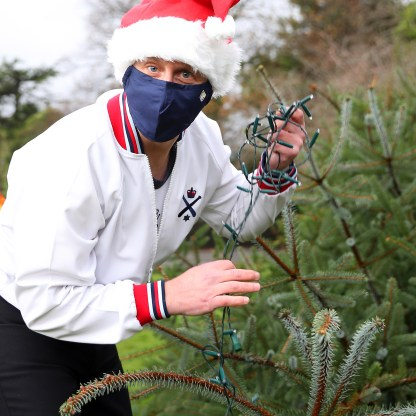 Royal Navy bring Christmas cheer to locals Team from Faslane deliver and erect Christmas trees ( under covid working practices) in the local area (Rhu and Gareloch Head).