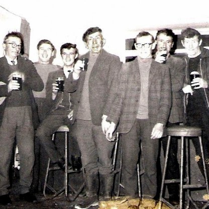 King 16 Sheddy Feeney, who survived the Cleggan Disaster (centre), with Padraig Churchill, Bunny Joyce, Michael Macdonnell, Johnny Cloonan, Frank King and Owen King.