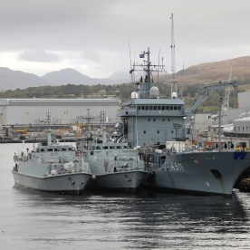 HMS Grimsby, LNS Skalvis and FGS Elbe alongside Faslane as part of Exercise Joint Warrior.