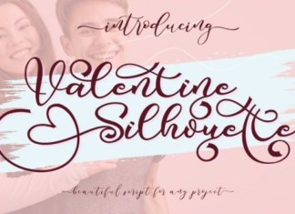 Valentine Silhouette Calligraphy Font
